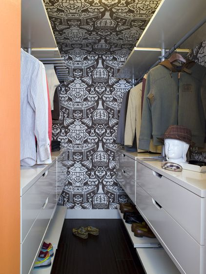 narrow walk in closet inspiration