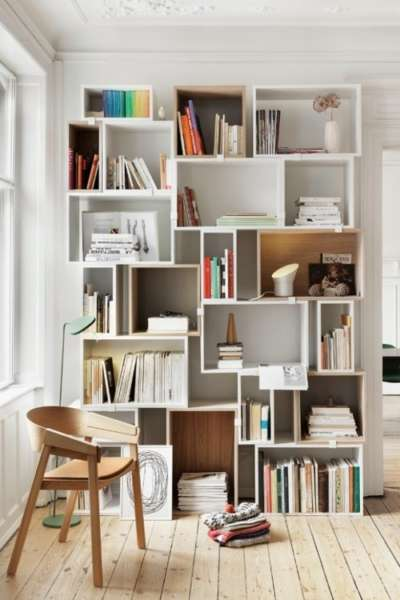 geometric scandinavian bookshelves