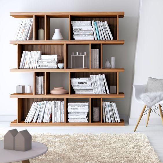 mid century scandinavian bookshelves