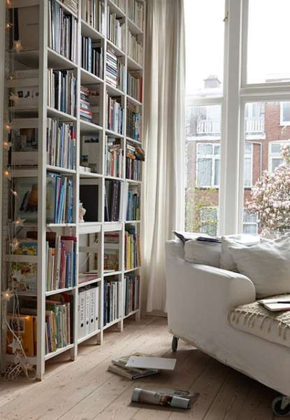 space saving scandinavian bookshelves
