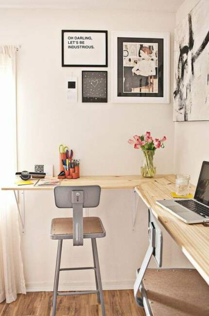 shared wall mounted work station with industrial chairs is a very comfy idea