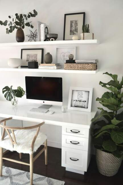 Chic White Color Theme Home Office Ideas