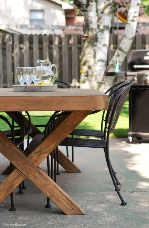 DIY Outdoor Table X Brace Legs and a Herringbone Top