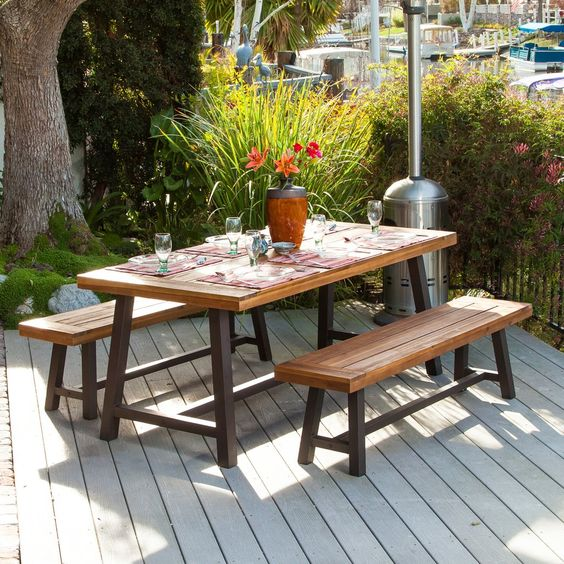 DIY Patio with Benches