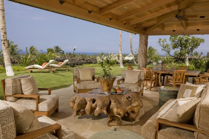 Outdoor Living Area With Teak Furniture