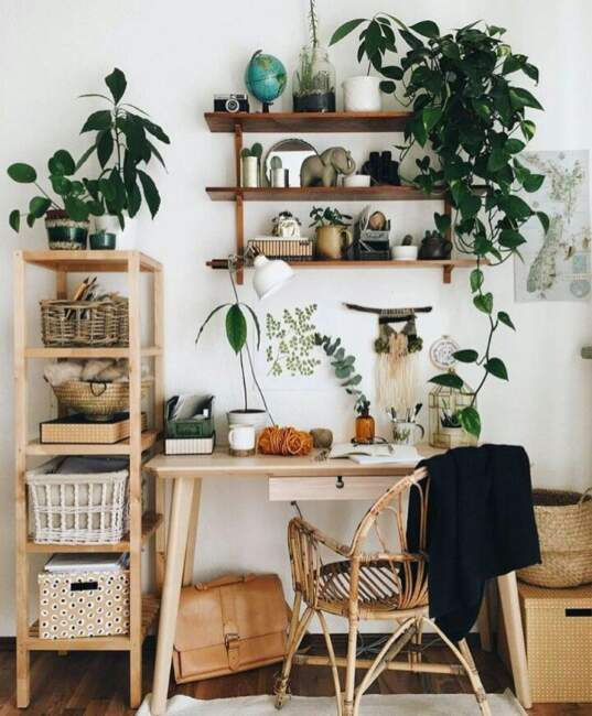 Small Home Office with Green Houseplants