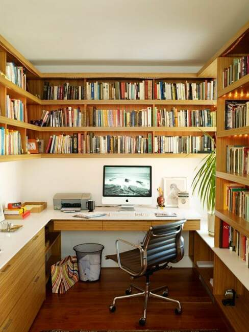 Stunning Home Office with Book Shelves