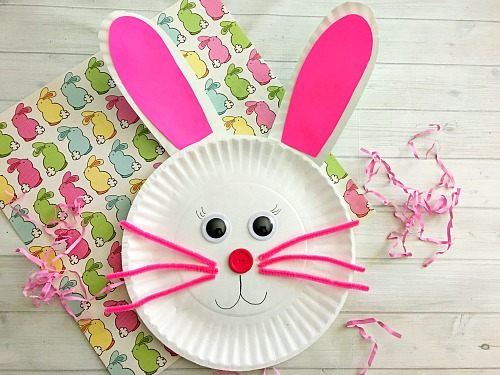 cute bunny paper plate craft for kids finished
