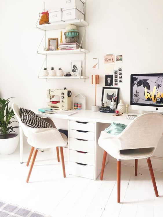 All White Modern Desk Ideas
