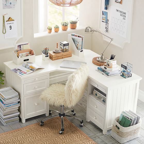 Beadboard DIY Corner Desk Ideas
