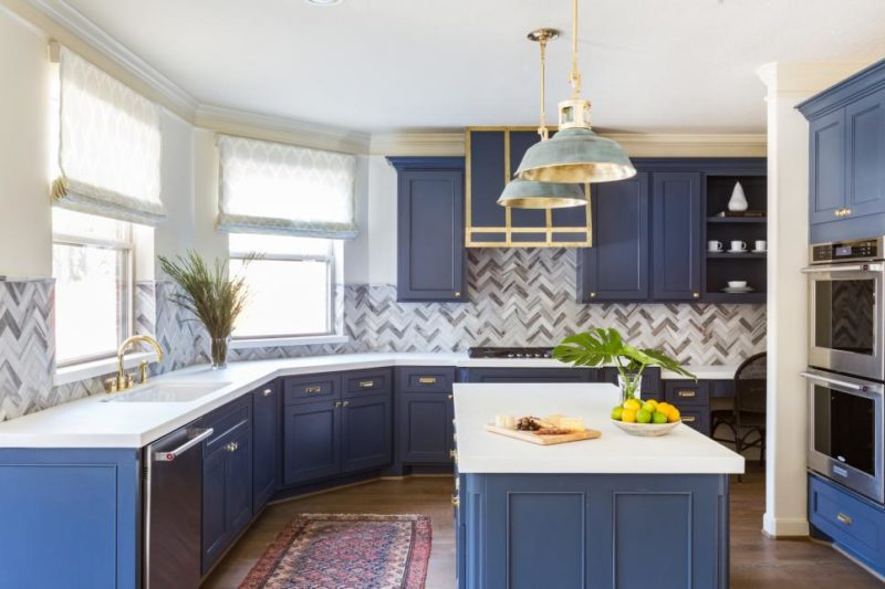 Blue and White Transitional Kitchen With Shades