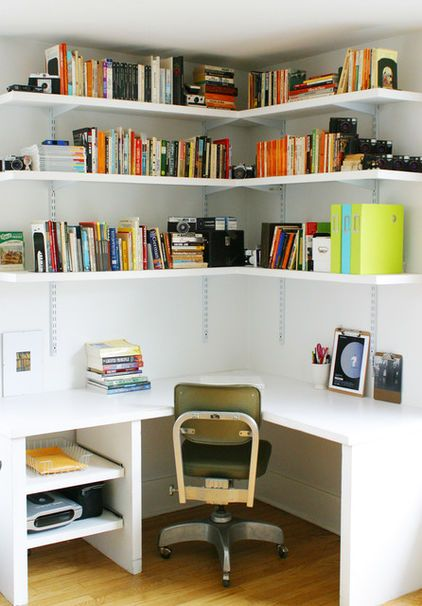Bookcase DIY Corner Desk Ideas