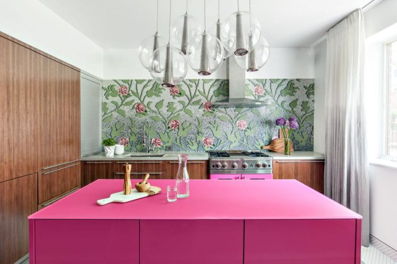 Contemporary Kitchen With Bright Pink Island