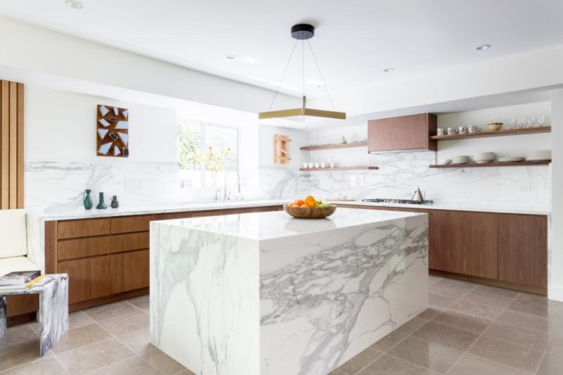 Contemporary Kitchen with Marble Island