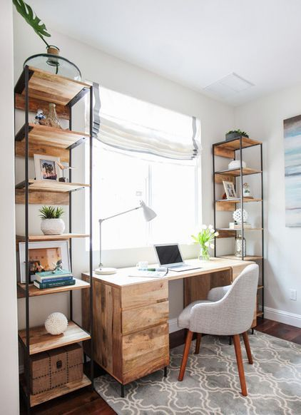 Double Shelves Modern Desk Ideas
