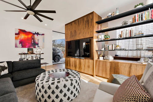 Entertainment Center with Modern Style and Wood Accents
