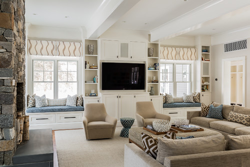 Entertainment Center with Stone Accents