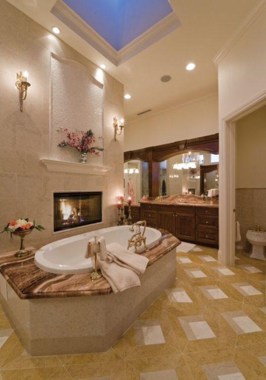 Fireplace in Luxury Bathroom