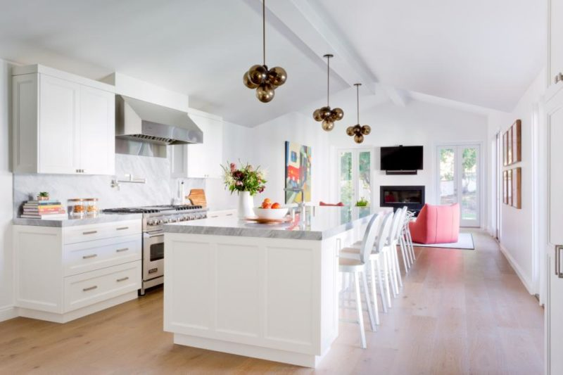 Funky Pendant Lights in Neutral, Eclectic Kitchen