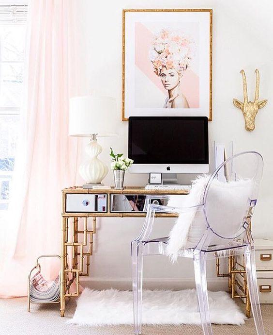 Gold Pipe Industrial Modern Desk Ideas