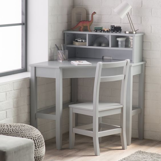 Grey Vintage DIY Corner Desk Ideas