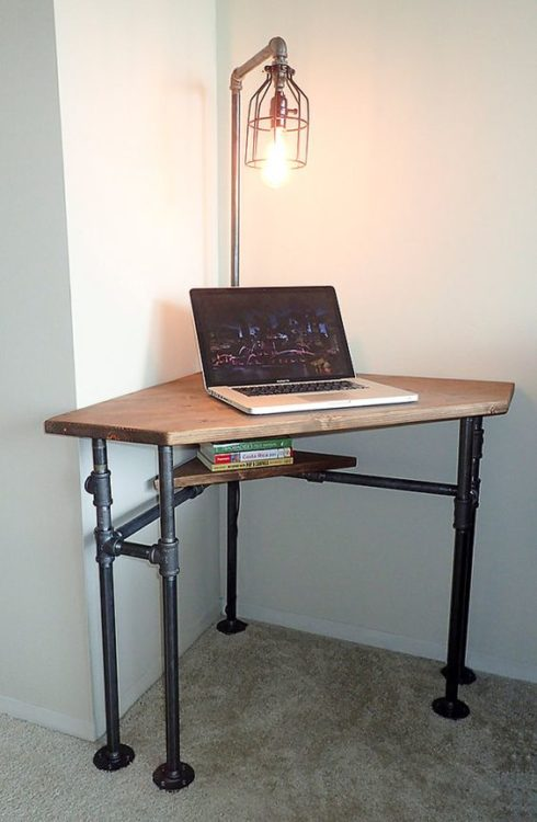 Industrial Pipe DIY Corner Desk Ideas