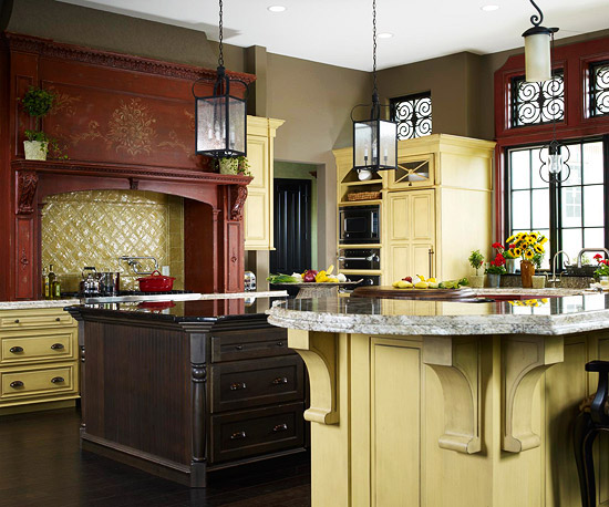 Mix Wood Marble Kitchen Cabinets