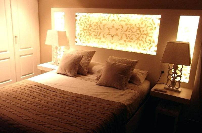 Modern String Lights Headboard