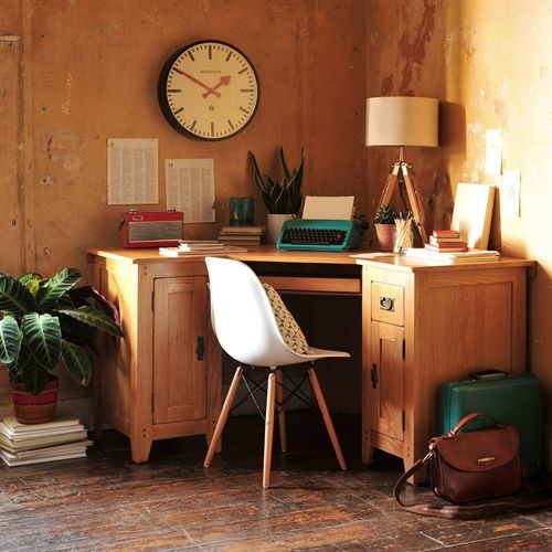 Oak Wood DIY Corner Desk Ideas