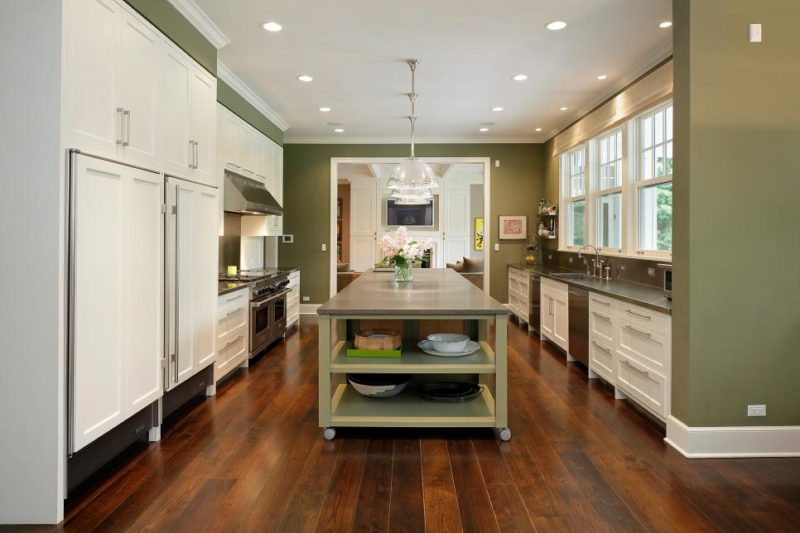Olive Green Chef Kitchen With Wood Floors