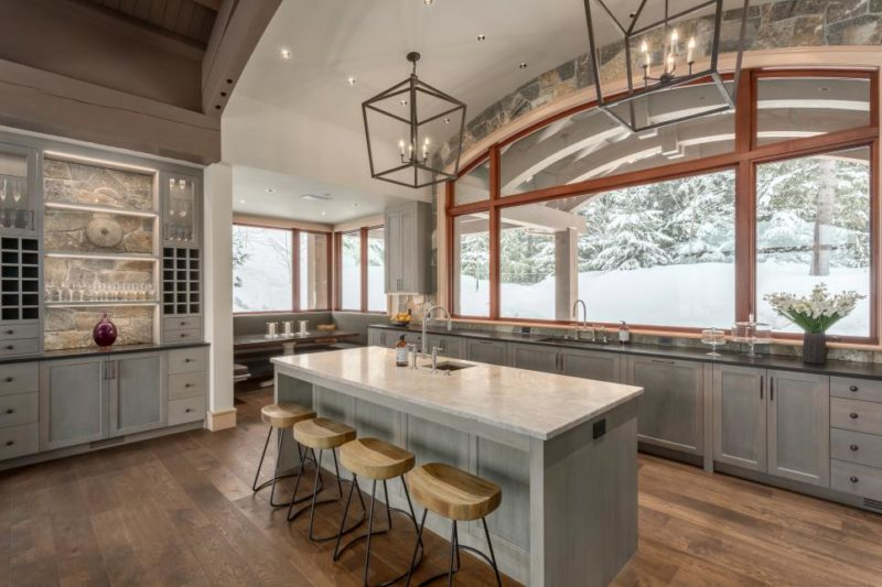 Open Rustic Kitchen Island Warm and Inviting