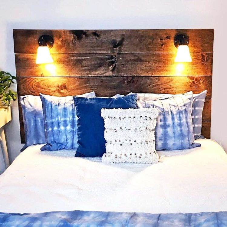 Pallet with Lights Headboard