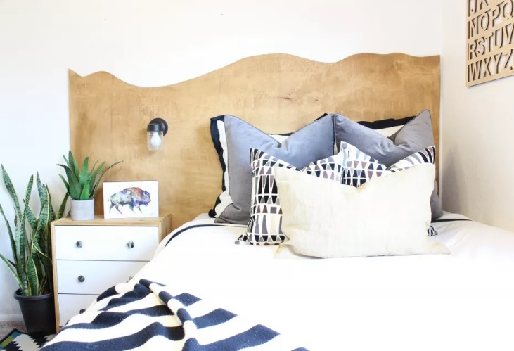 Raw Edge Wood Headboard