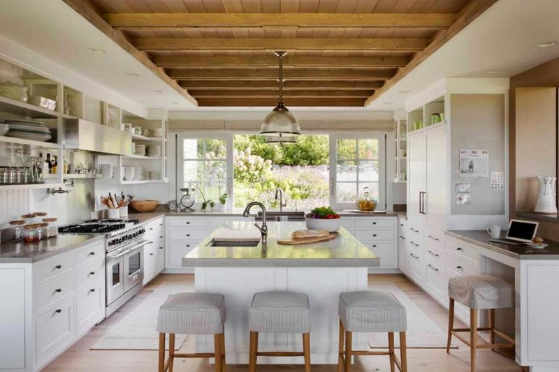 White Rustic Kitchen with Open Shelving