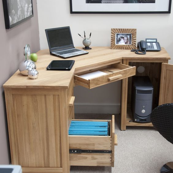 Wood Drawers DIY Corner Desk Ideas