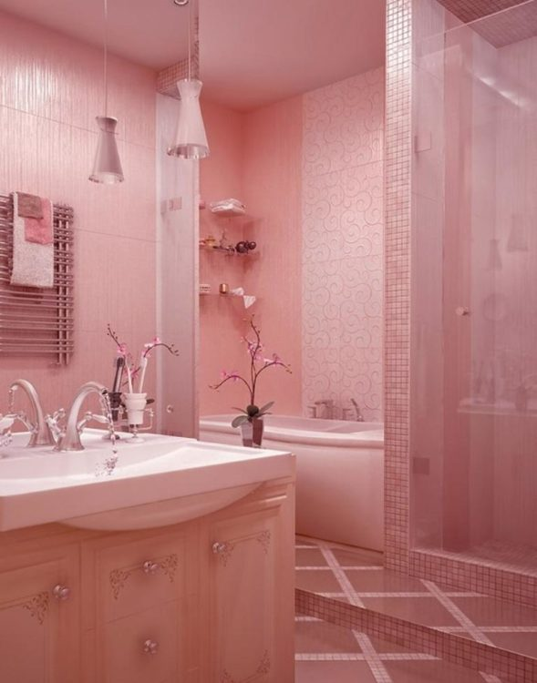 all pink bathroom