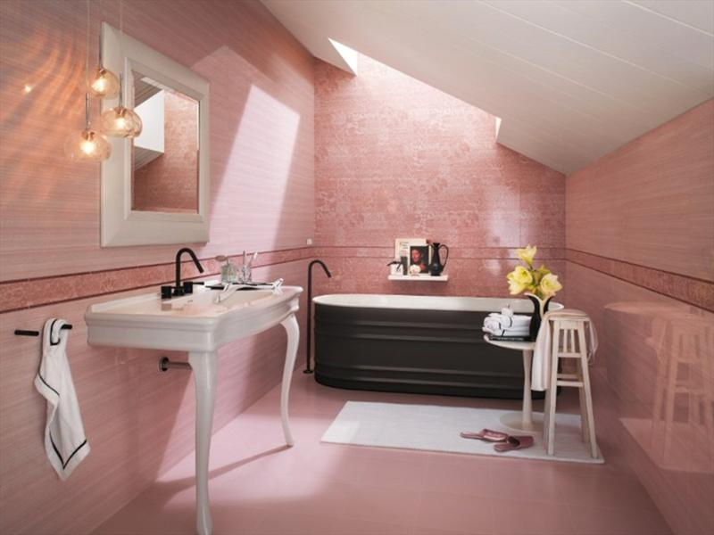 attic pink bathroom