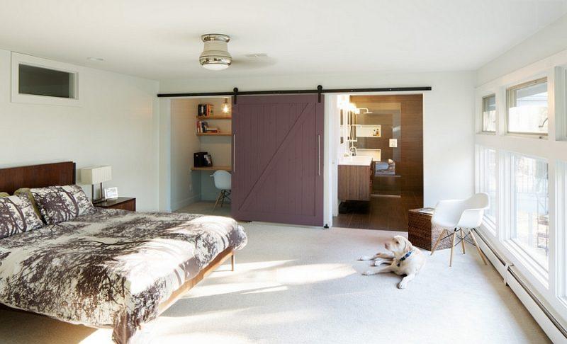 barn door bedroom office combo