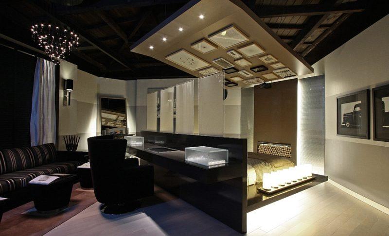 black bedroom office combo