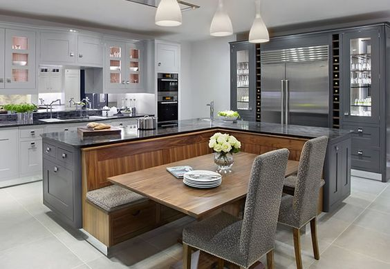 classy kitchen island with integrated breakfast nook
