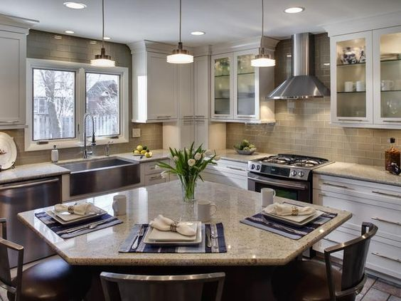 classy kitchen island with pentagon shaped island