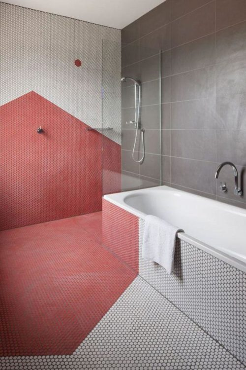 color block pink bathroom