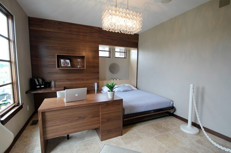 Contemporary Bedroom Office Combo