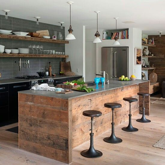 contemporary kitchen island with wooden island