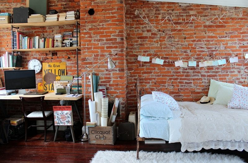Eclectic Vintage Bedroom Office Combo