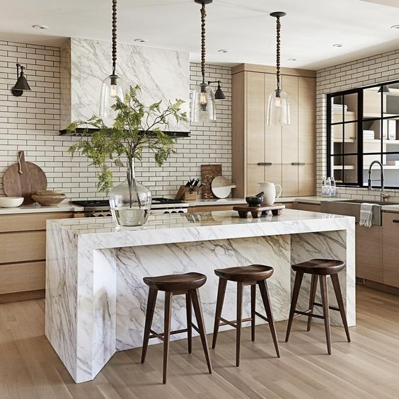 fabulous kitchen island with luxurious marble