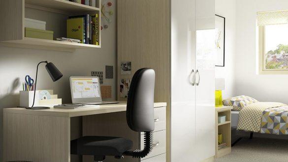 geometric pattern bedroom office combo