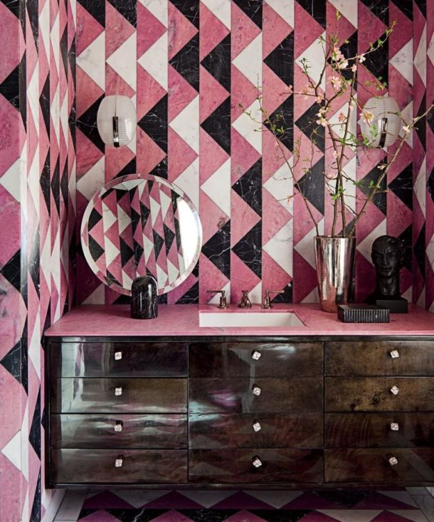 geometric pink bathroom