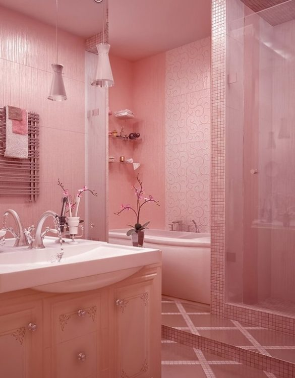 great pink bathroom