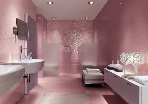 grey pink bathrooms